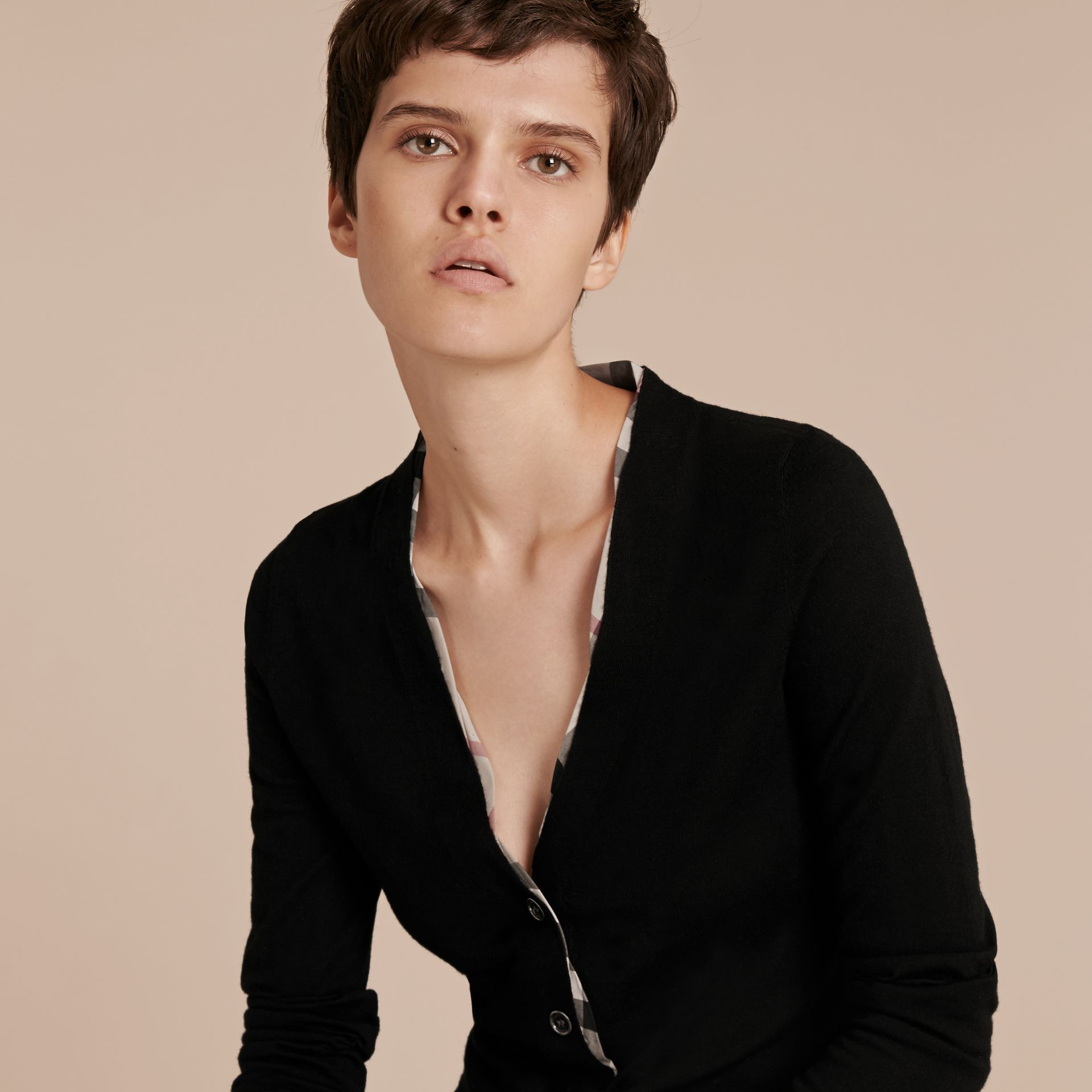 Check Placket Wool Cardigan in Black - Women | Burberry - gallery image 5