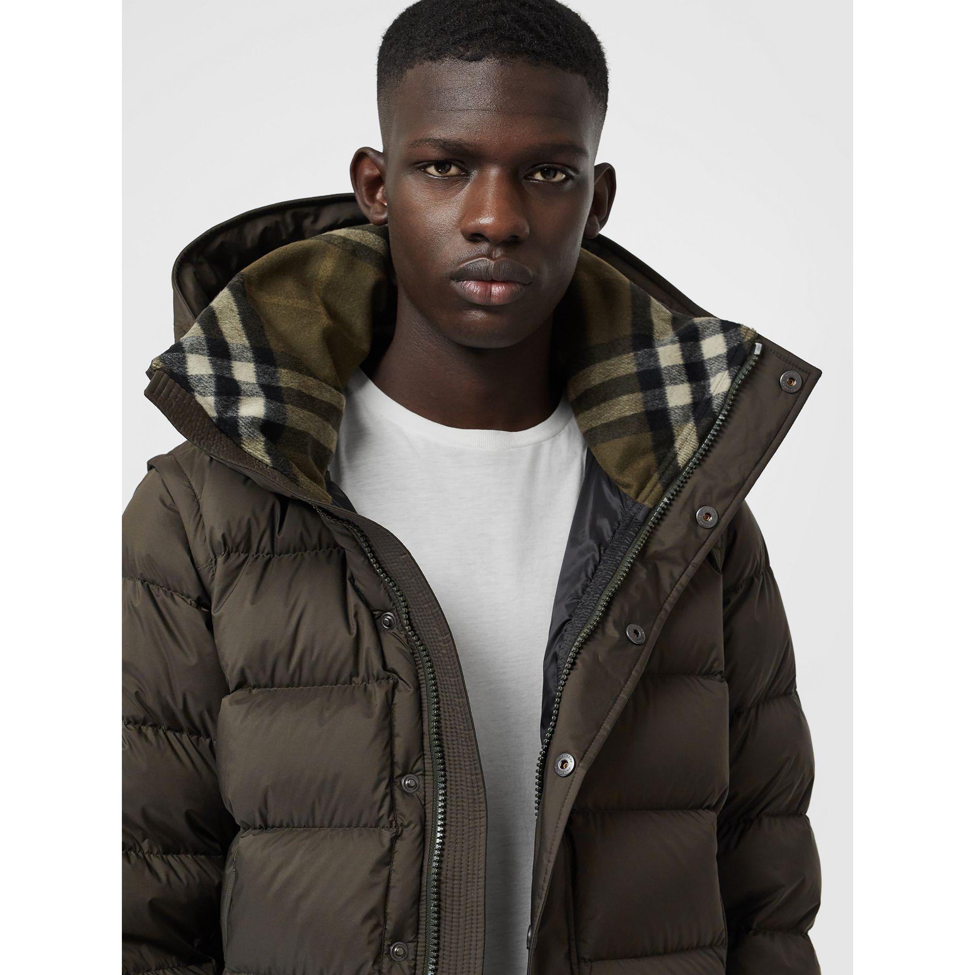 Detachable-sleeve Down-filled Hooded Puffer Jacket in Olive - Men | Burberry United States - gallery image 4