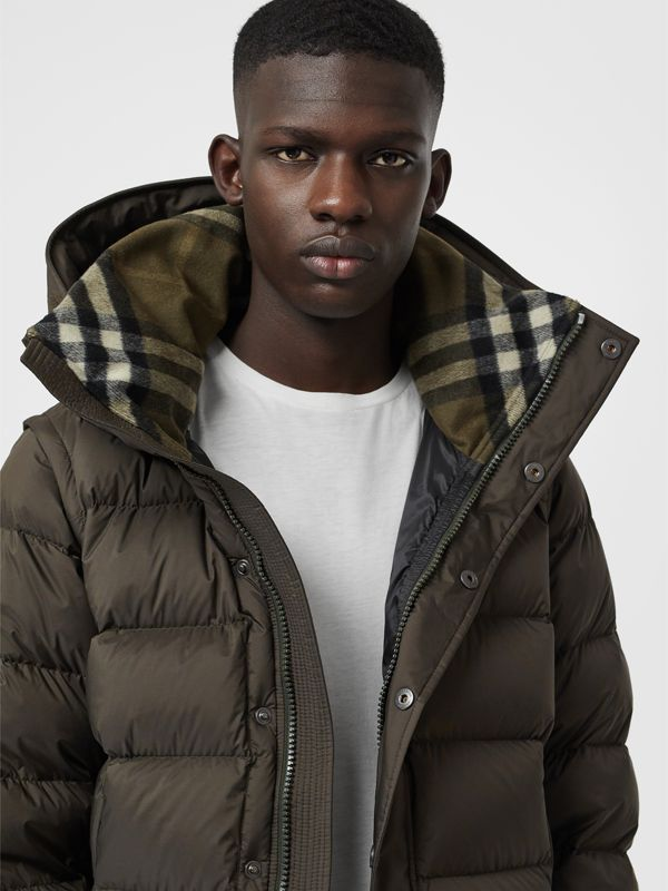 Detachable-sleeve Down-filled Hooded Puffer Jacket in Olive - Men | Burberry - cell image 3