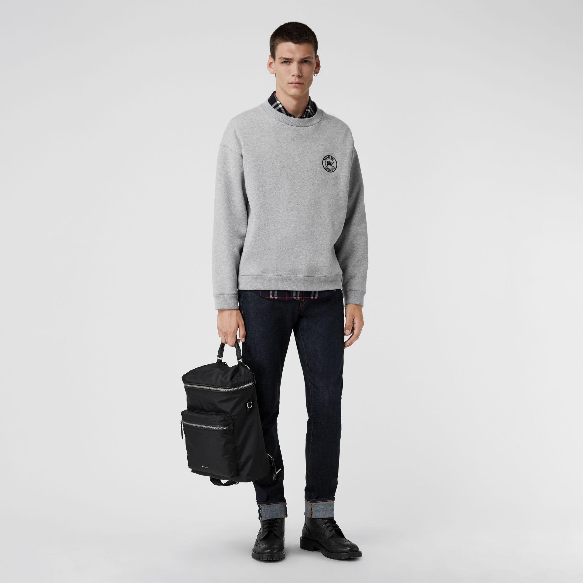 Embroidered Logo Jersey Sweatshirt in Pale Grey Melange - Men | Burberry Singapore - gallery image 0