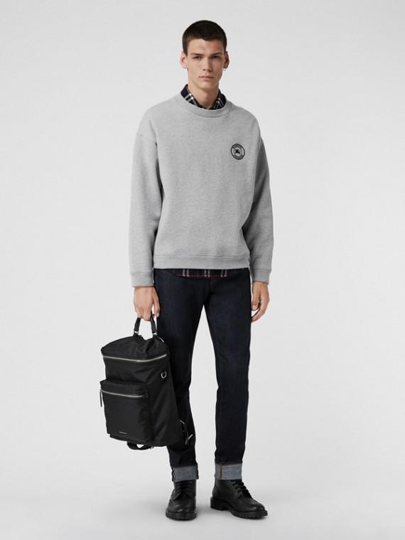 Embroidered Logo Jersey Sweatshirt in Pale Grey Melange