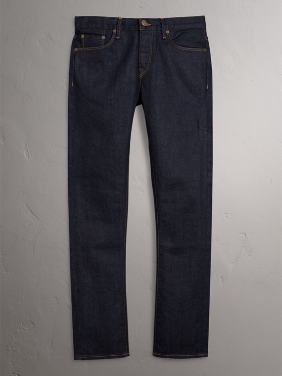 Straight Fit Stretch Japanese Selvedge Denim Jeans in Dark Indigo - Men | Burberry United Kingdom - cell image 3