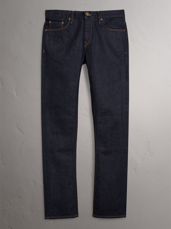 Straight Fit Stretch Japanese Selvedge Denim Jeans in Dark Indigo - Men | Burberry - cell image 3