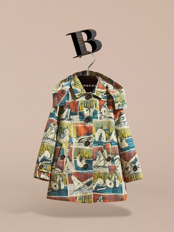 Reclining Figures Print Hooded Cotton Trench Coat - cell image 2