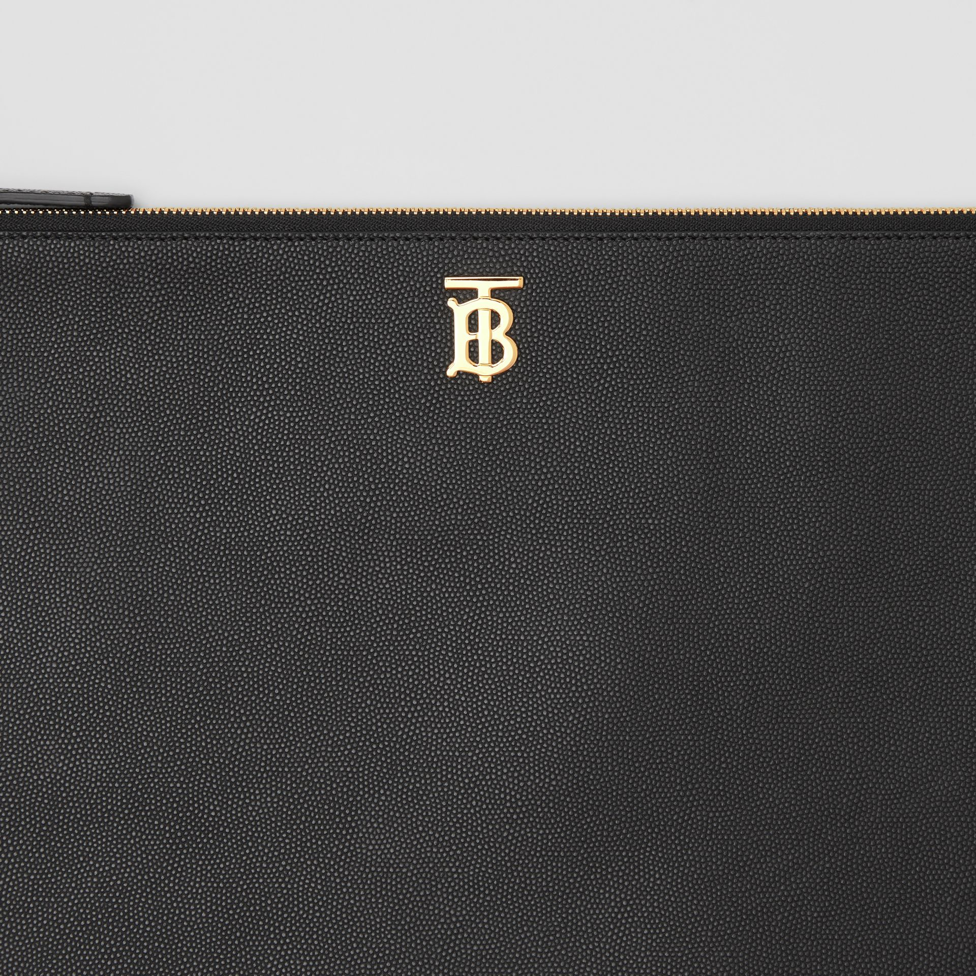 Monogram Motif Grainy Leather Pouch in Black - Women | Burberry - gallery image 1