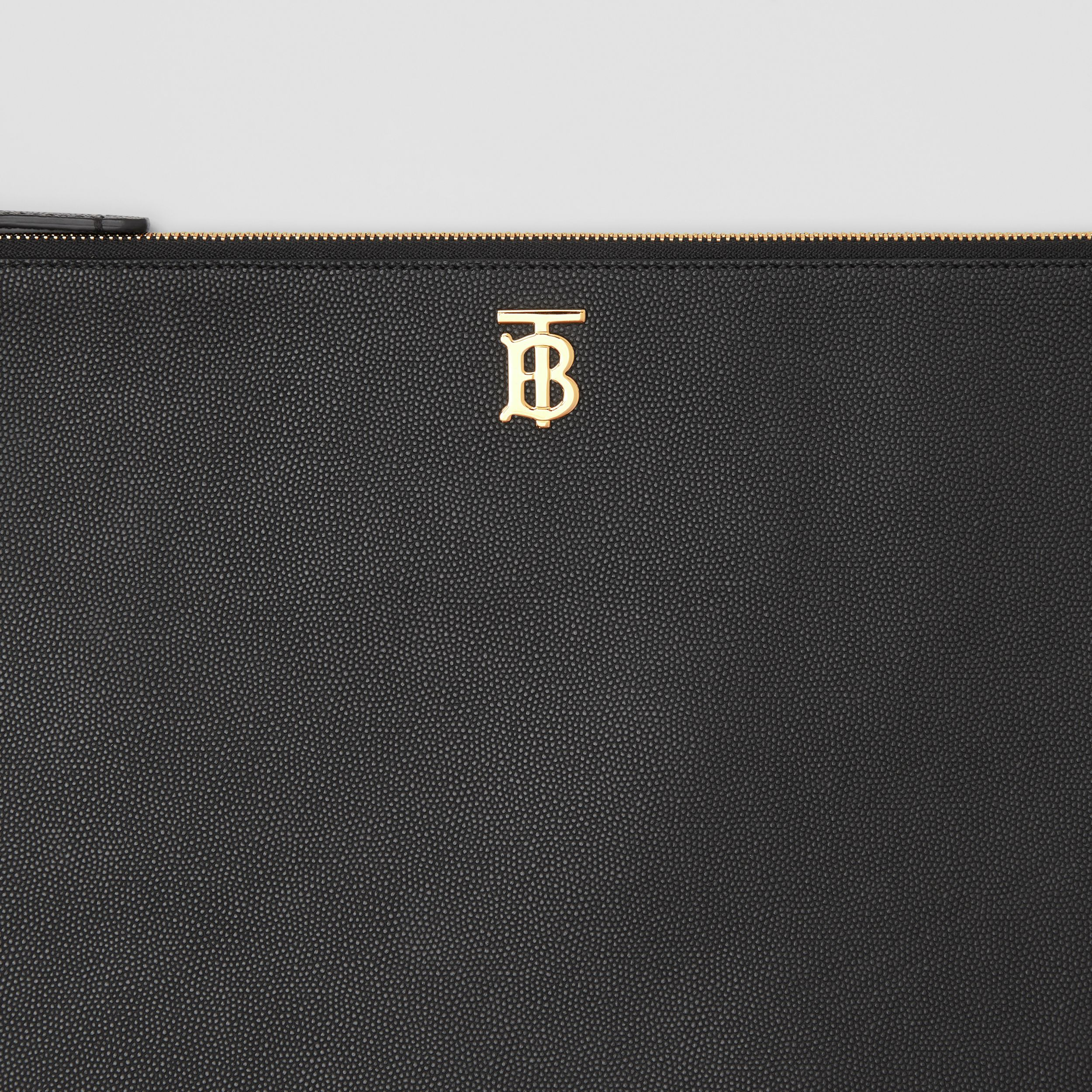 Monogram Motif Grainy Leather Pouch in Black - Women | Burberry - 2