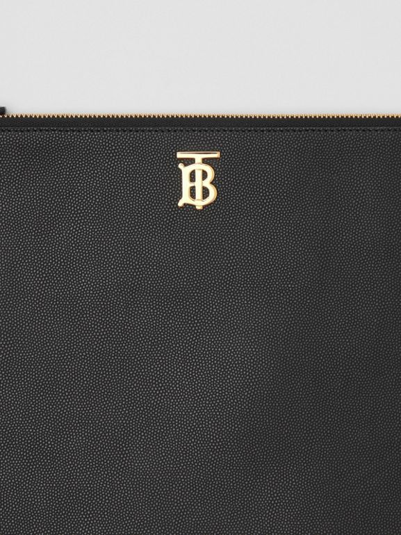 Monogram Motif Grainy Leather Pouch in Black - Women | Burberry United States - cell image 1