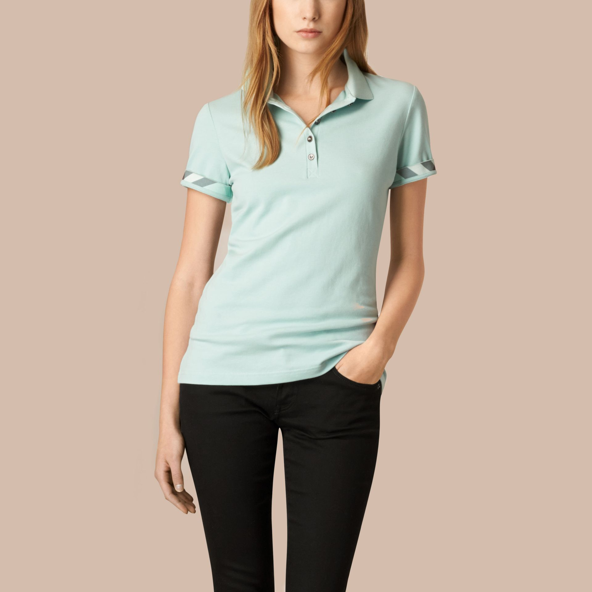 Light green opal Check Trim Stretch Cotton Piqué Polo Shirt Light Green Opal - gallery image 1