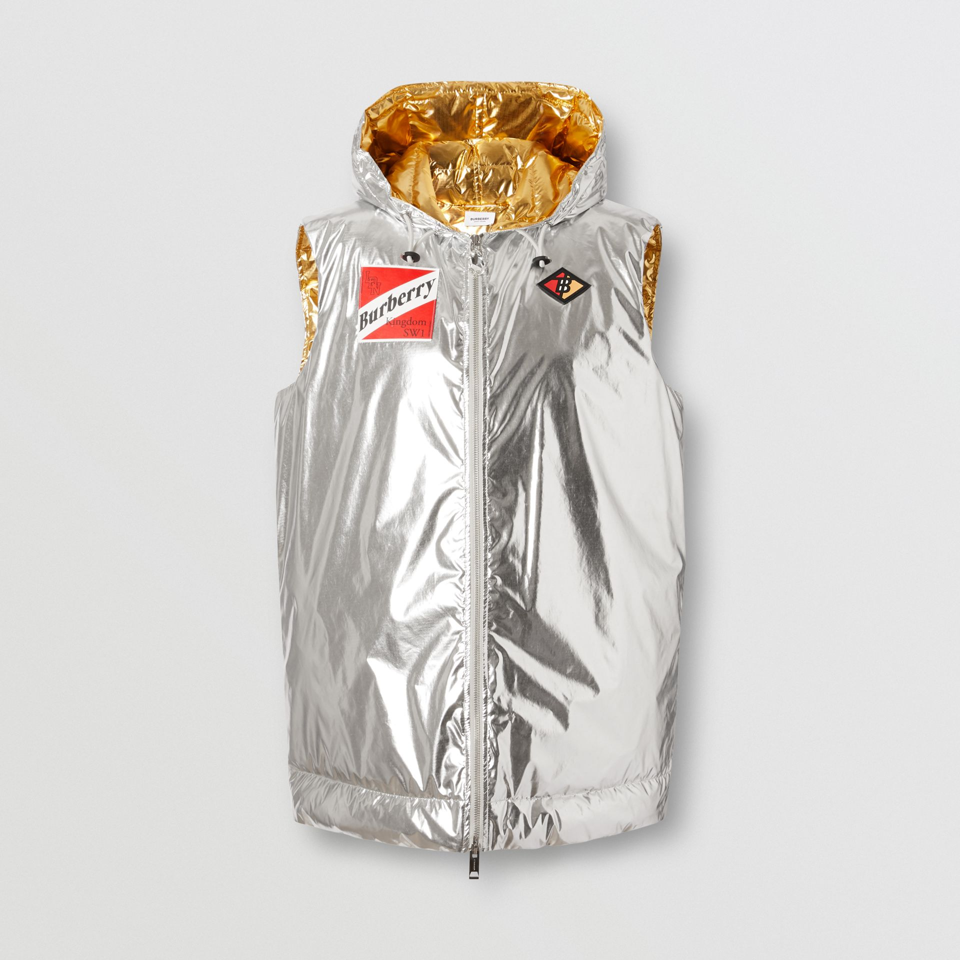 Logo Graphic Metallic Down-filled Gilet in Silver - Women | Burberry United Kingdom - gallery image 3
