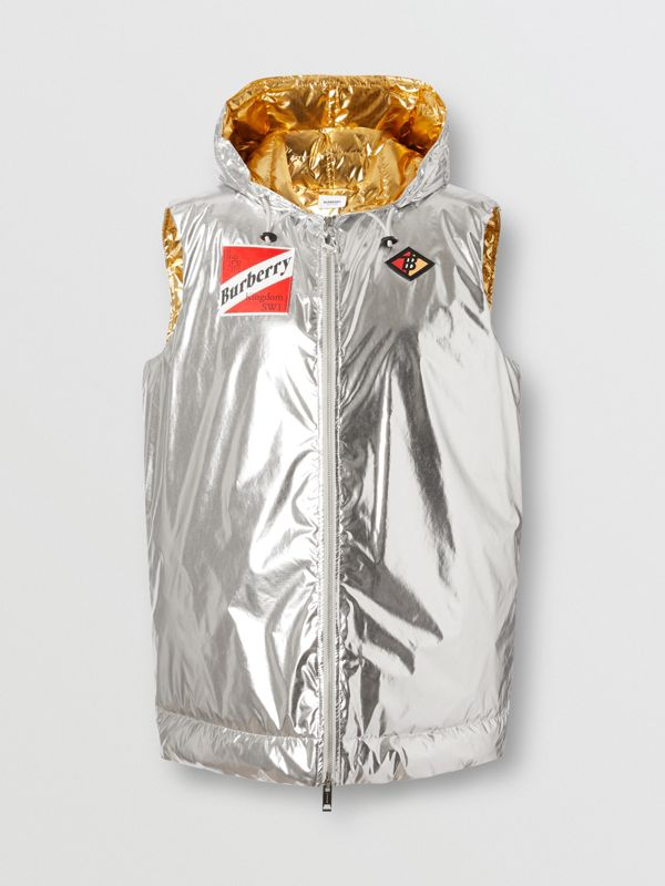 Logo Graphic Metallic Down-filled Gilet in Silver - Women | Burberry United Kingdom - cell image 3