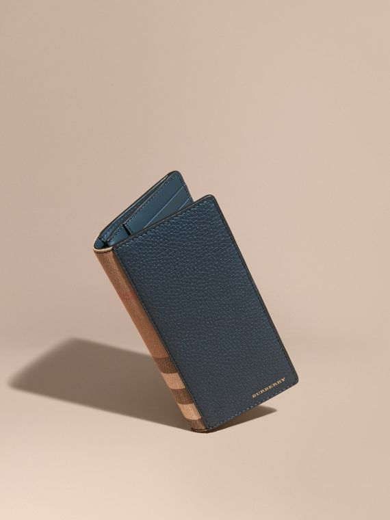 House Check and Grainy Leather Continental Wallet Storm Blue