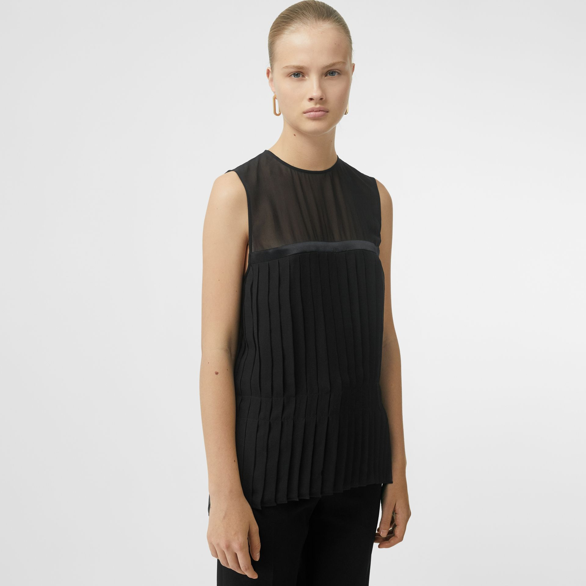 Sleeveless Pleated Silk Georgette Top in Black - Women | Burberry - gallery image 4