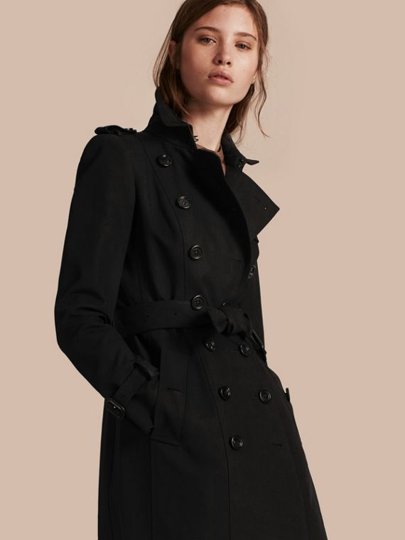 Cotton Gabardine Trench Coat Black