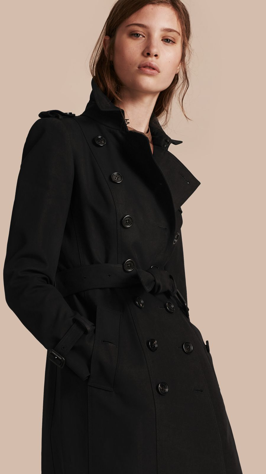 Black Cotton Gabardine Trench Coat Black - Image 1
