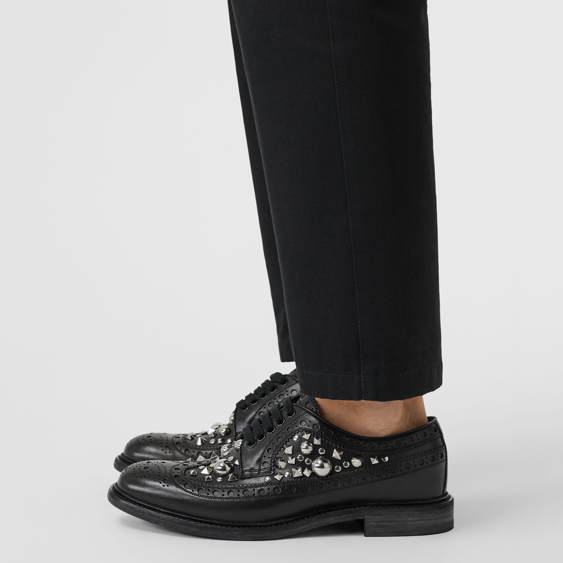 Stud Detail Leather Brogues in Black - Men | Burberry Canada - gallery image 2