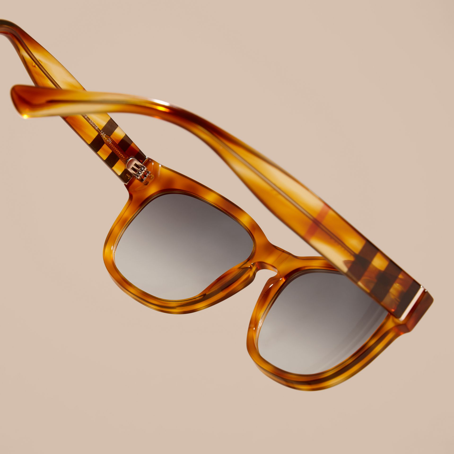 Light russet brown Check Detail Square Frame Sunglasses - gallery image 4