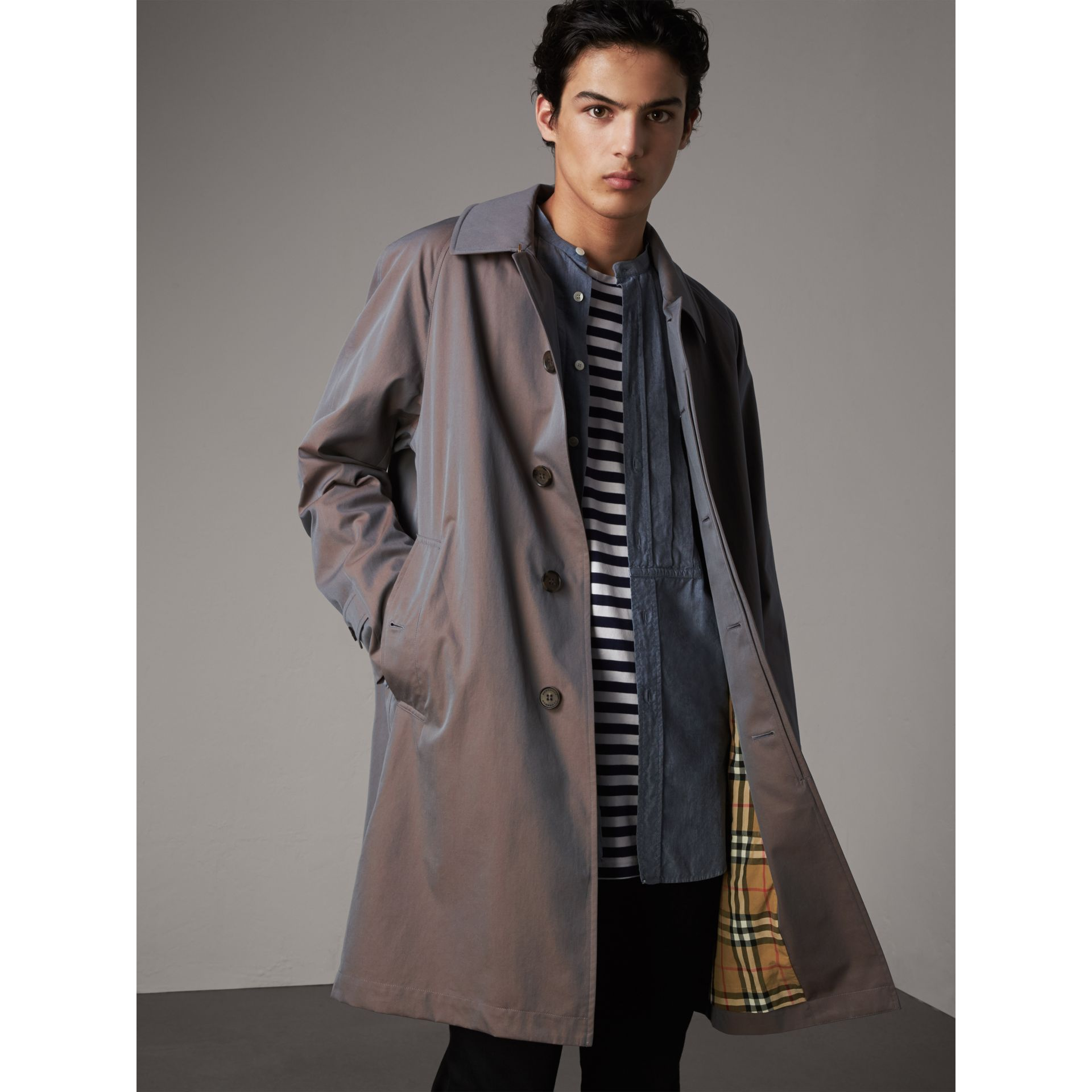The Camden – Long Car Coat in Lilac Grey - Men | Burberry Australia - gallery image 6