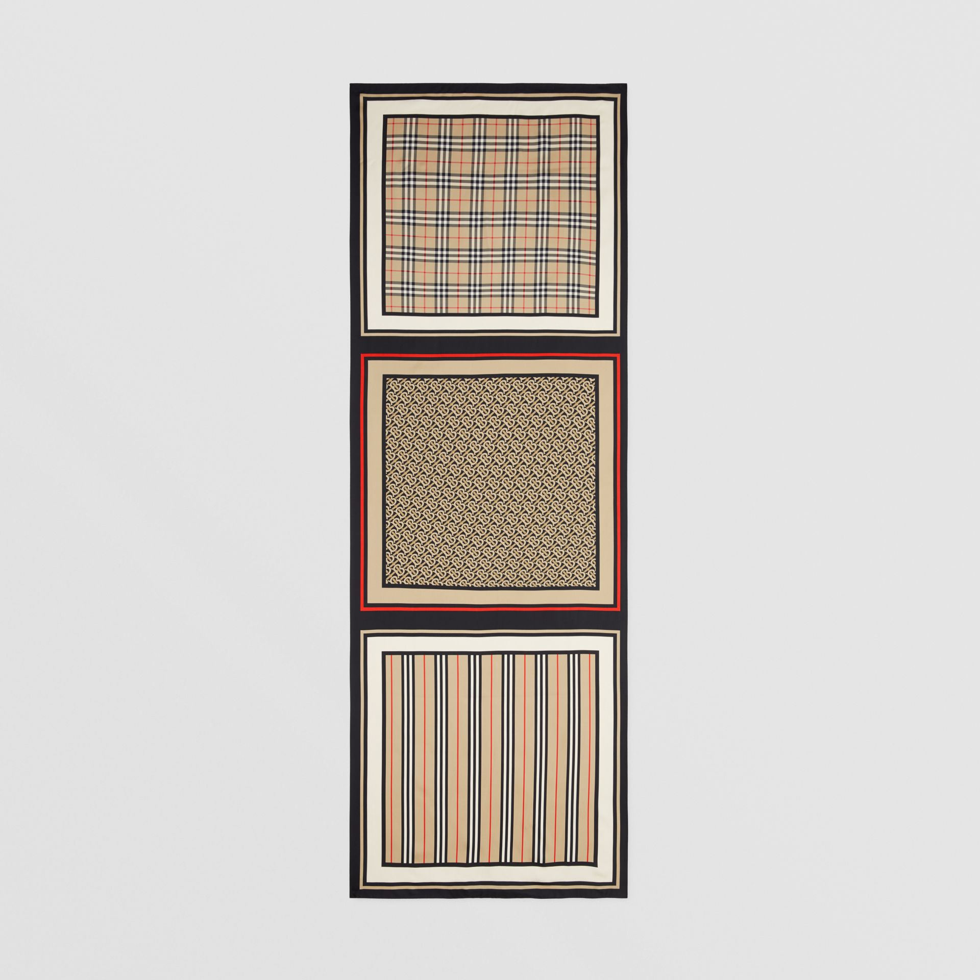 Monogram, Icon Stripe and Check Print Silk Scarf in Archive Beige | Burberry - gallery image 5