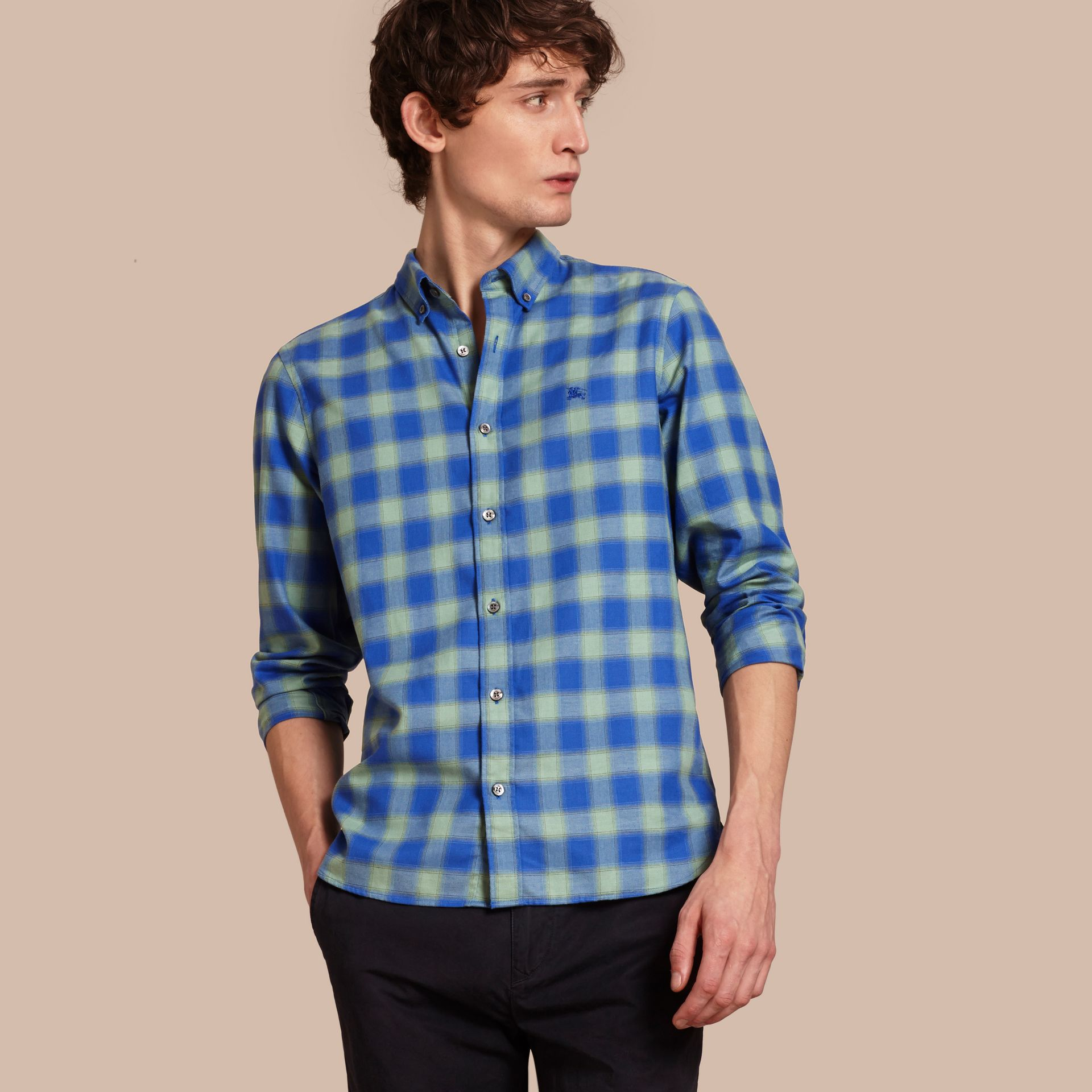 Gingham Check Cotton Shirt in Eucalyptus Green - gallery image 1