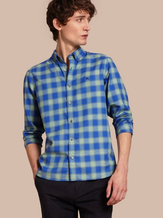 Gingham Check Cotton Shirt Eucalyptus Green