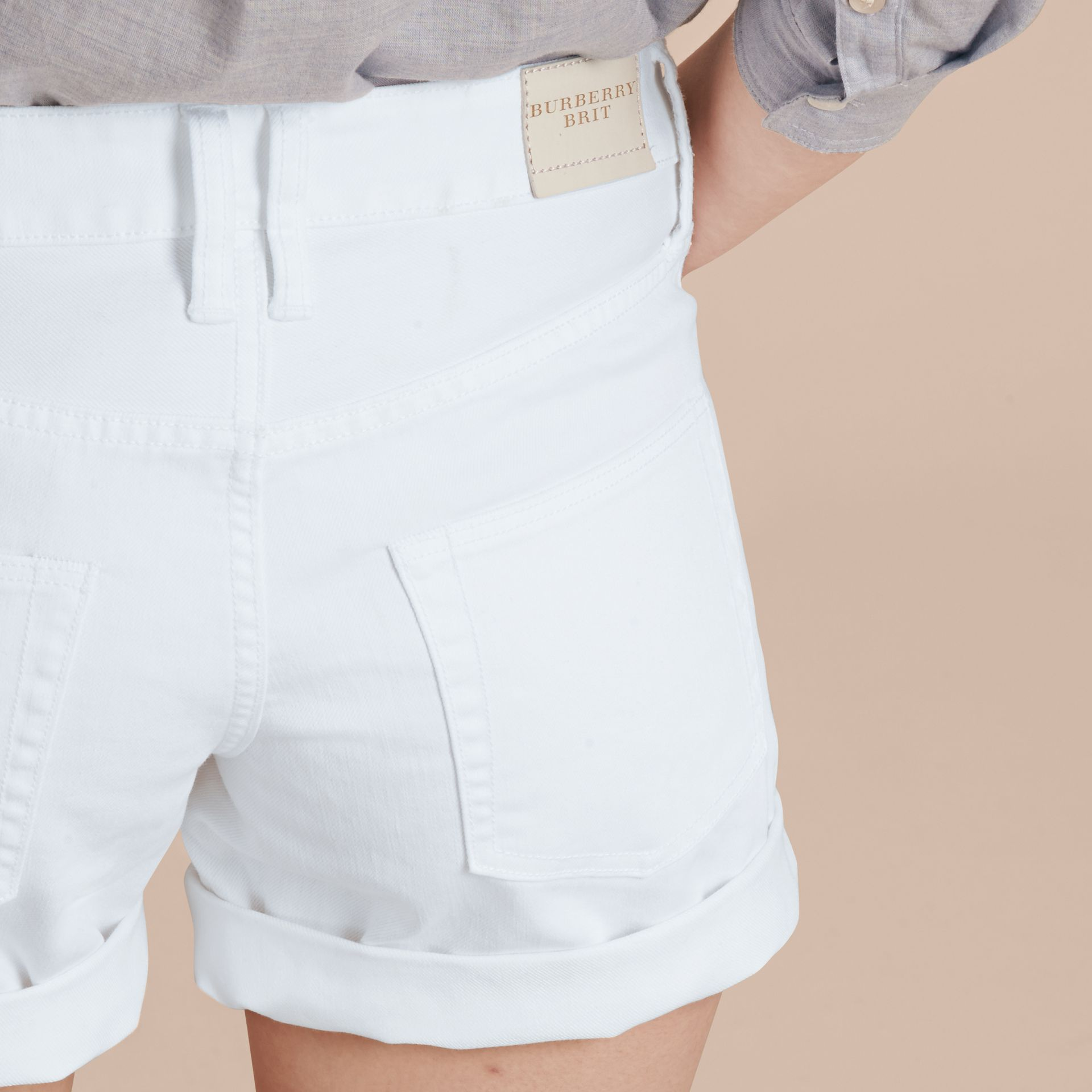 White Low-Rise Japanese Denim Shorts - gallery image 6
