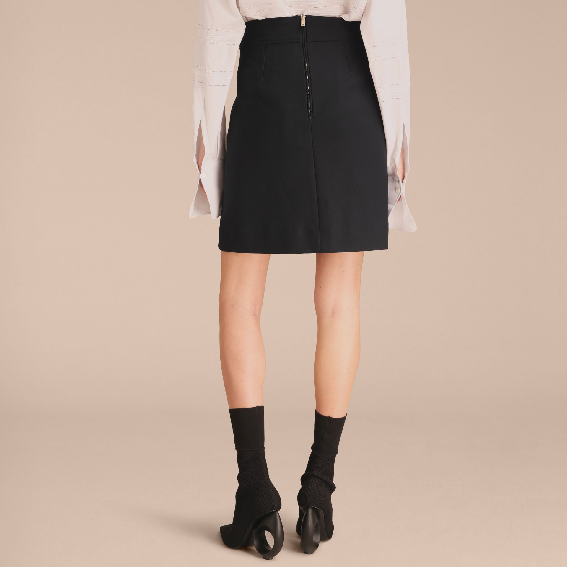 Stretch A-line Technical Skirt with Pleat Detail - gallery image 3