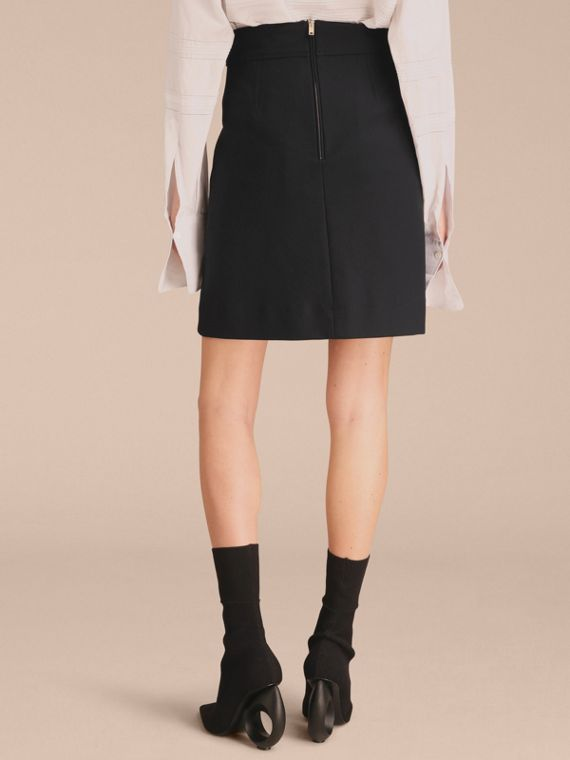 Stretch A-line Technical Skirt with Pleat Detail - Women   Burberry - cell image 2