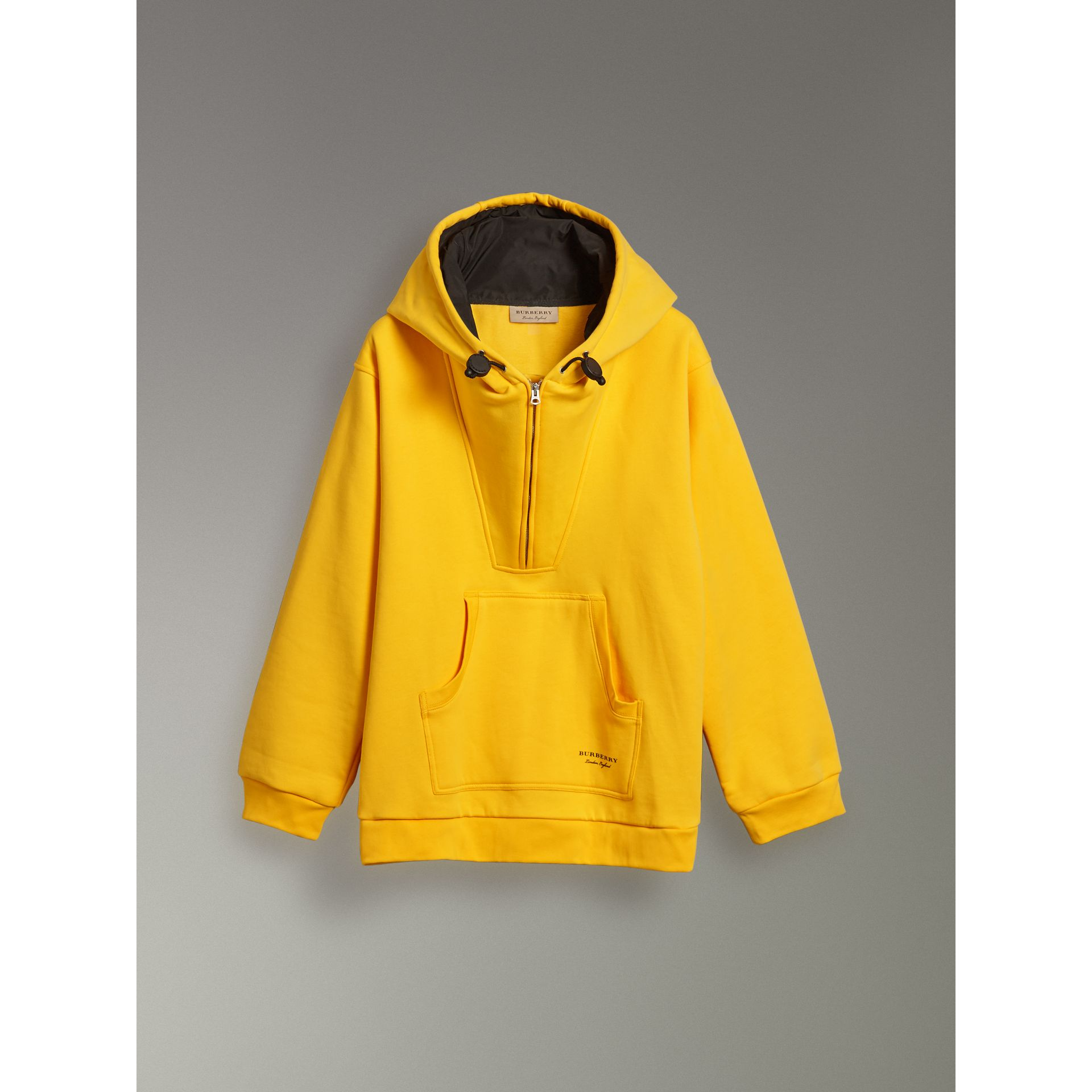 Oversized Sweatshirt Half-zip Hoodie in Bright Yellow - Men | Burberry United Kingdom - gallery image 3