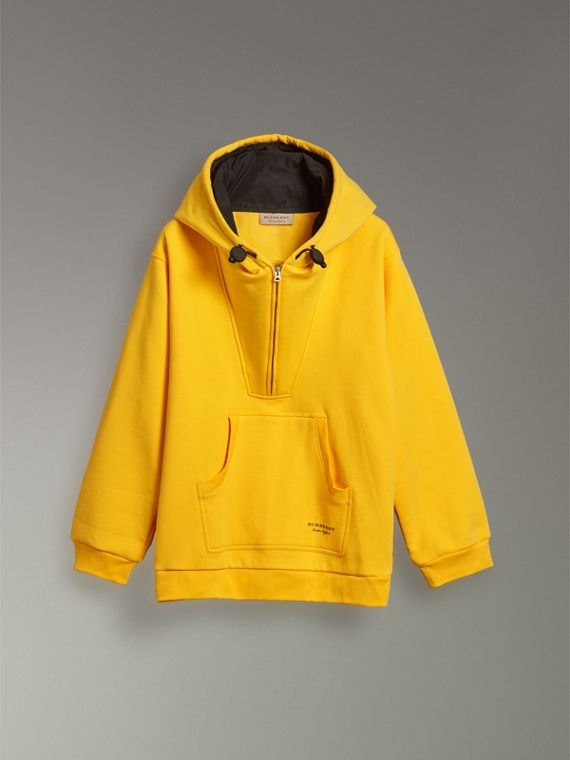 Oversized Sweatshirt Half-zip Hoodie in Bright Yellow - Men | Burberry United States - cell image 3