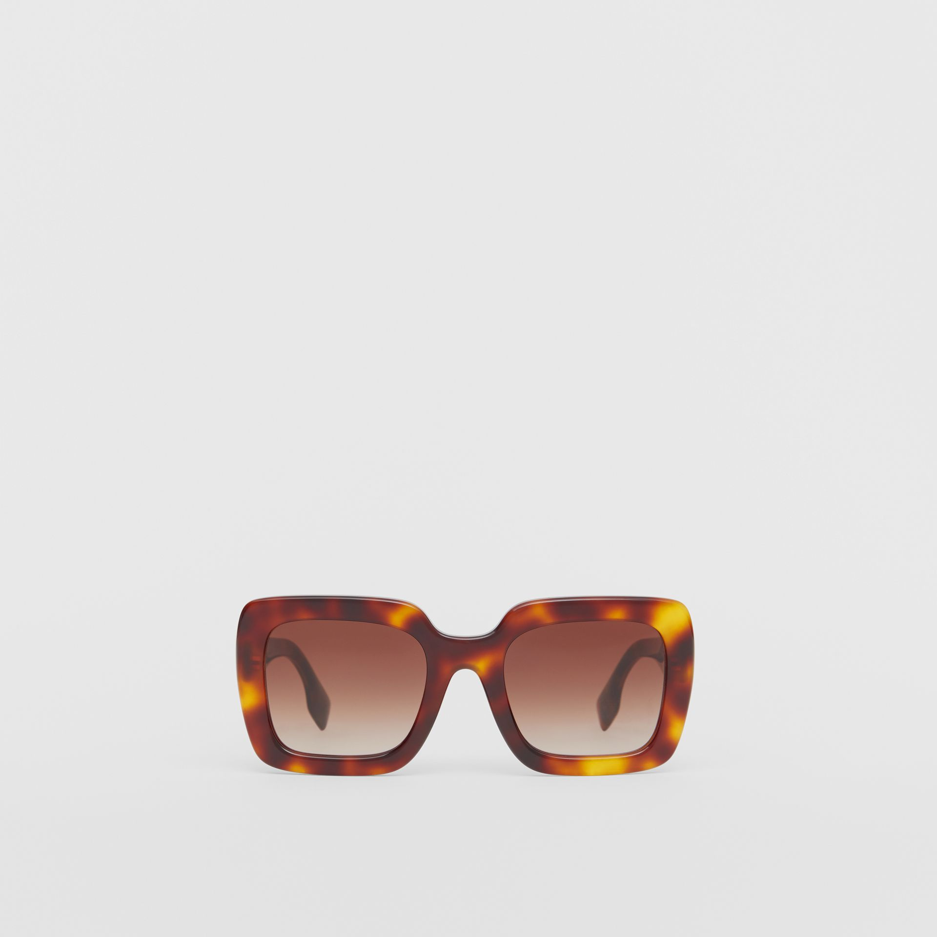 Oversized Square Frame Sunglasses in Tortoiseshell - Women | Burberry - gallery image 0