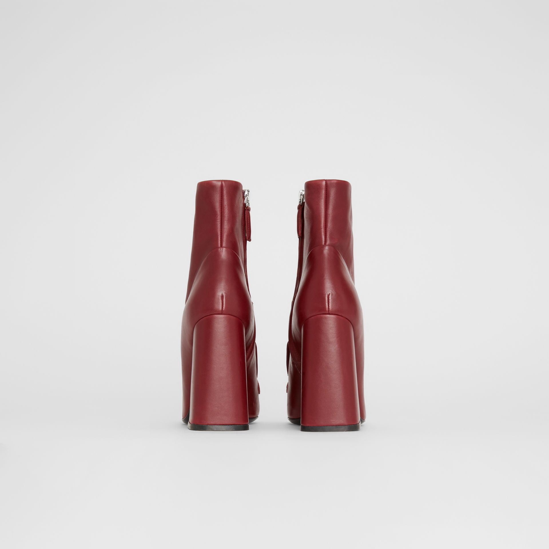 Studded Bar Detail Leather Ankle Boots in Bordeaux - Women | Burberry - gallery image 4