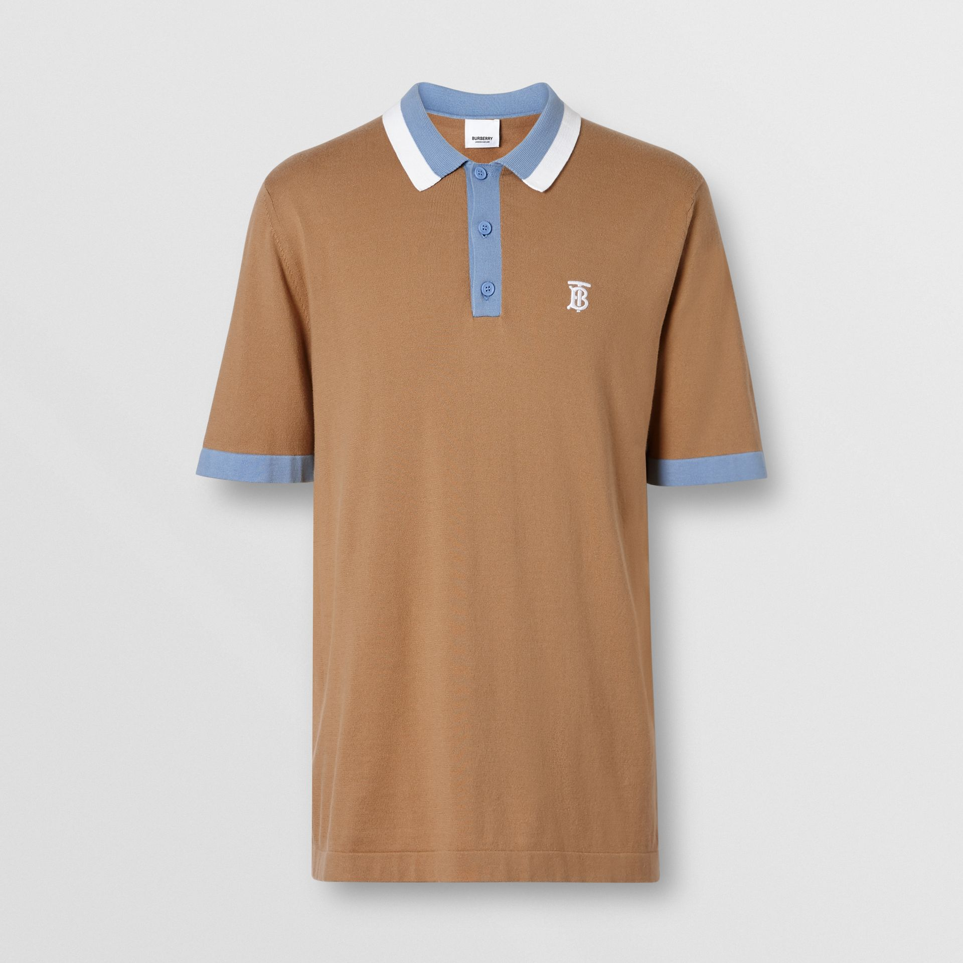 Monogram Motif Tipped Cotton Polo Shirt in Camel - Men | Burberry United Kingdom - gallery image 3