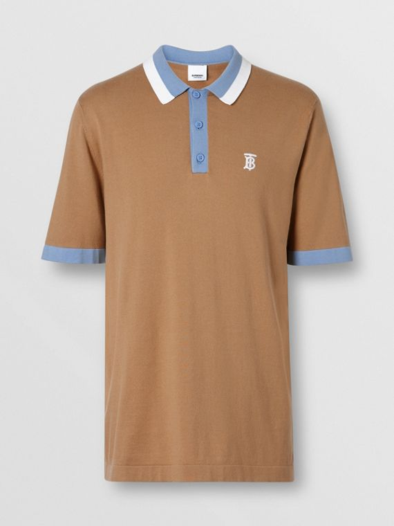 373db8efc Monogram Motif Tipped Cotton Polo Shirt in Camel