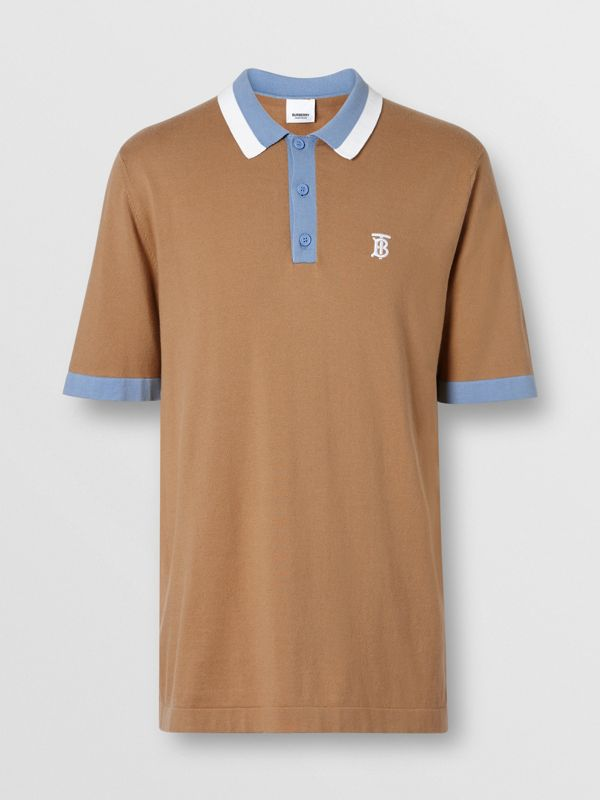 Monogram Motif Tipped Cotton Polo Shirt in Camel - Men | Burberry - cell image 3