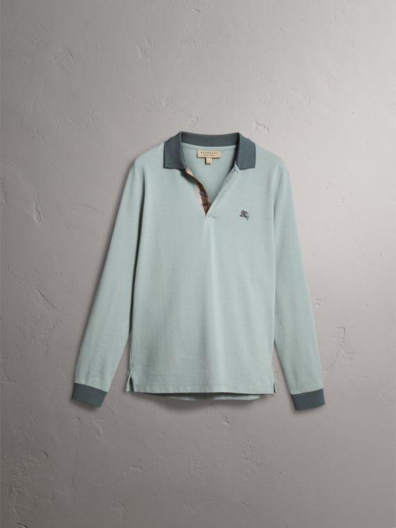 Long-sleeve Cotton Piqué Polo Shirt in Eucalyptus Green