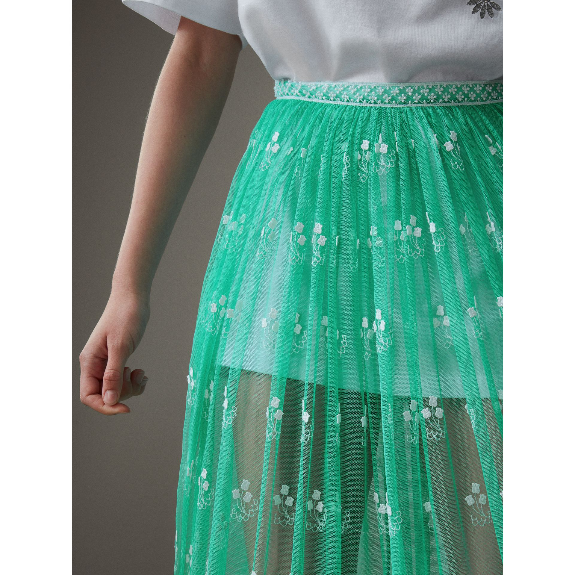 Floor-length Embroidered Tulle Skirt in Aqua Green/white - Women | Burberry - gallery image 1