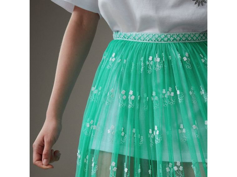 Floor-length Embroidered Tulle Skirt in Aqua Green/white - Women | Burberry - cell image 1