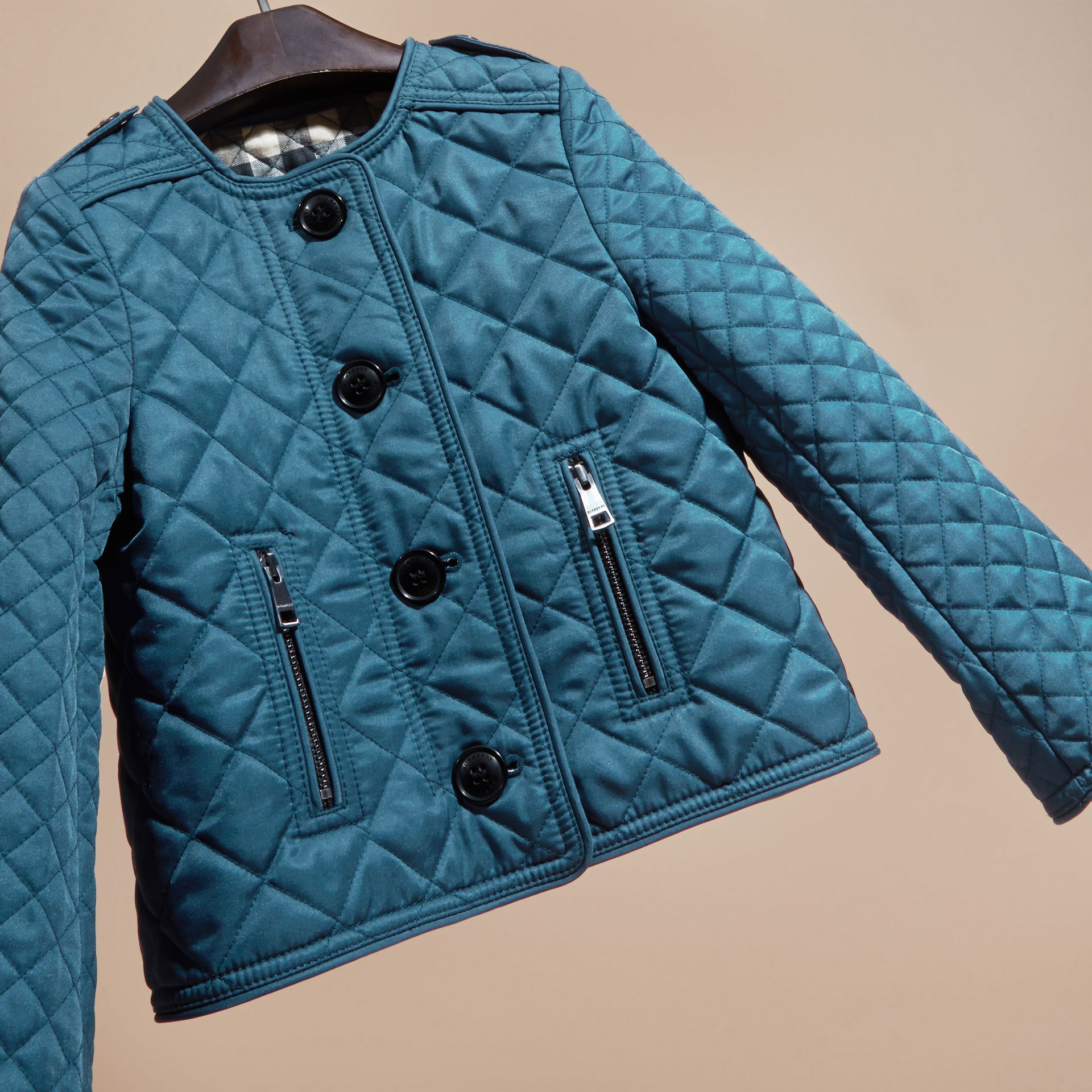 Pale indigo Collarless Diamond Quilted Jacket Pale Indigo - gallery image 3