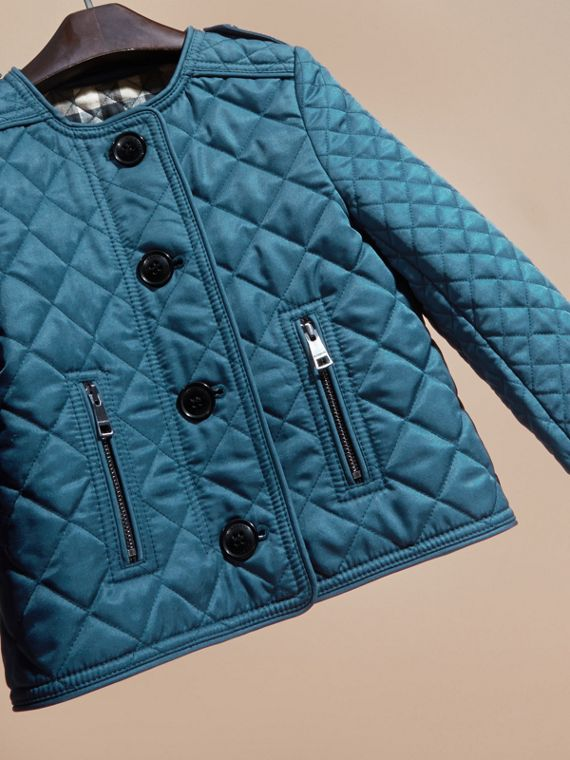 Pale indigo Collarless Diamond Quilted Jacket Pale Indigo - cell image 2