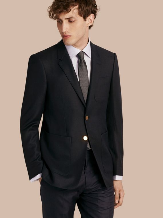 Modern Fit Tailored Wool Half-canvas Jacket