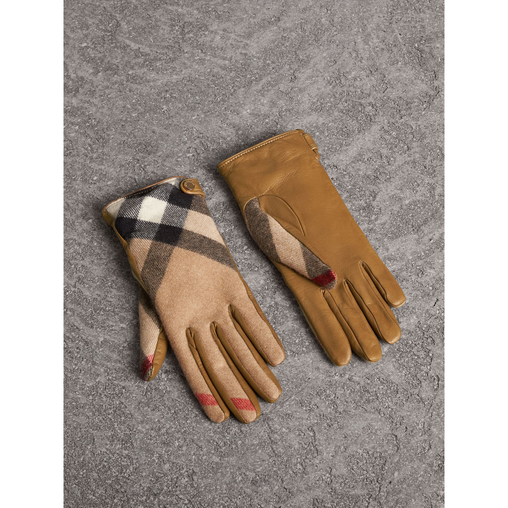 Leather and Check Cashmere Gloves in Camel - Women | Burberry - gallery image 0