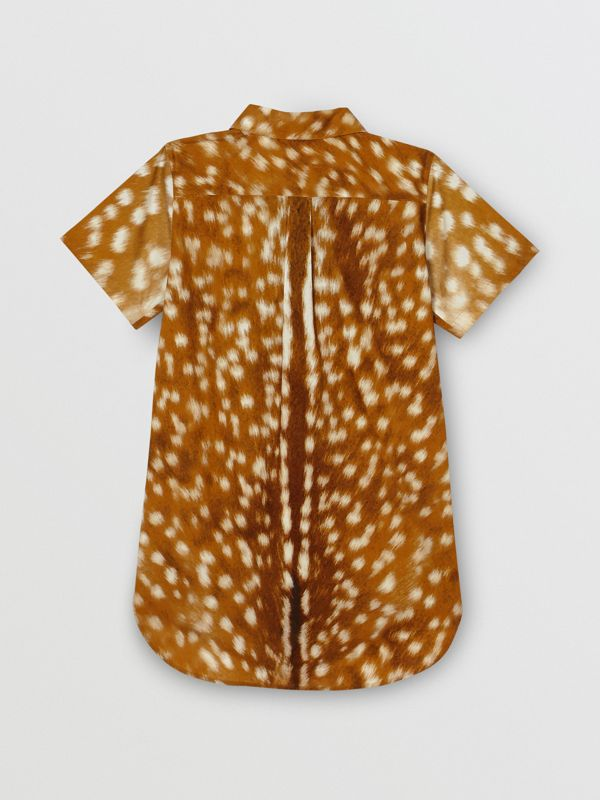 Short-sleeve Deer Print Cotton Shirt in Honey | Burberry - cell image 3
