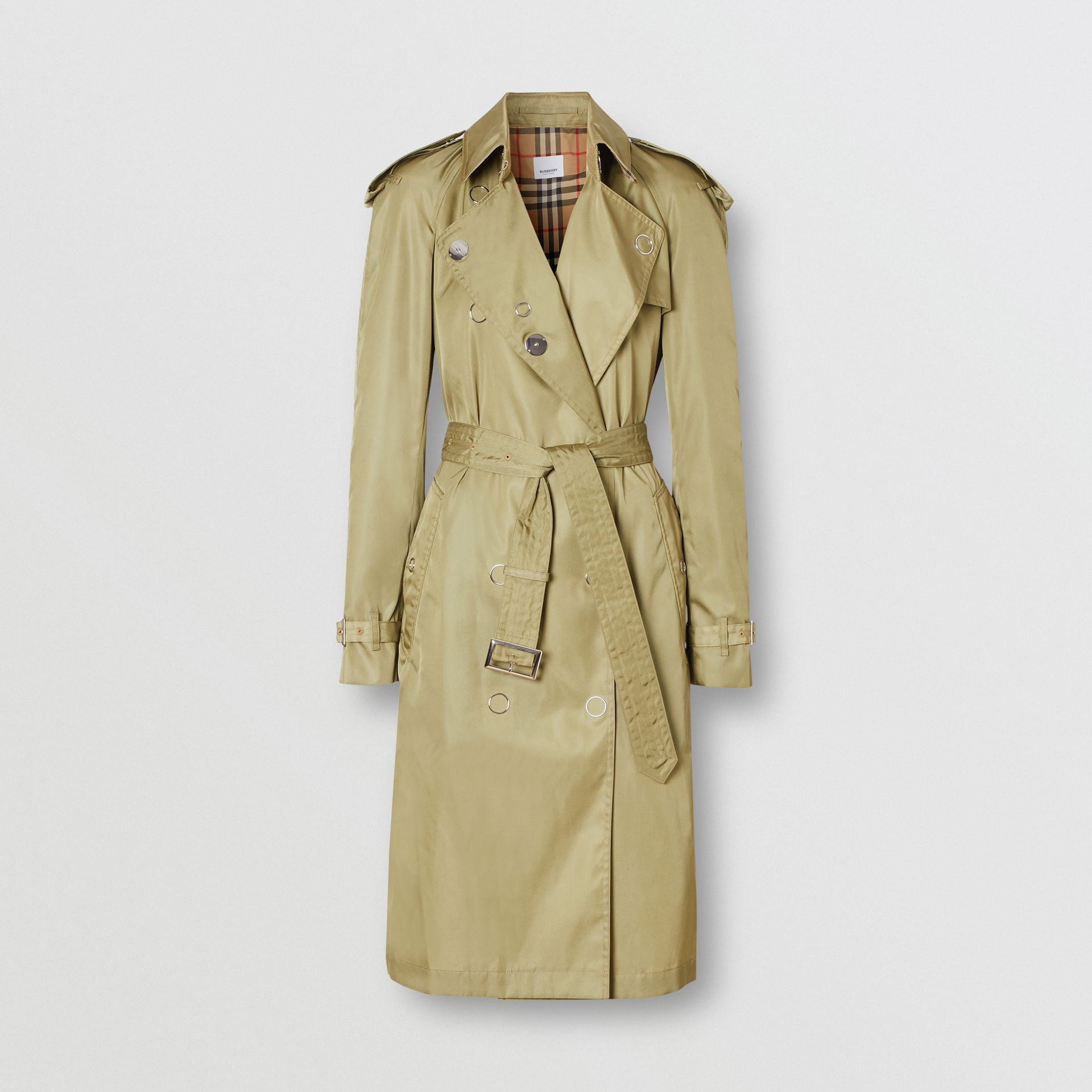Press-stud Detail ECONYL® Trench Coat in Rich Olive - Women | Burberry - gallery image 3