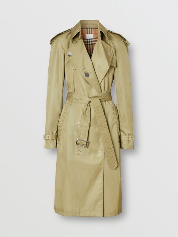 Press-stud Detail ECONYL® Trench Coat in Rich Olive - Women | Burberry - cell image 3