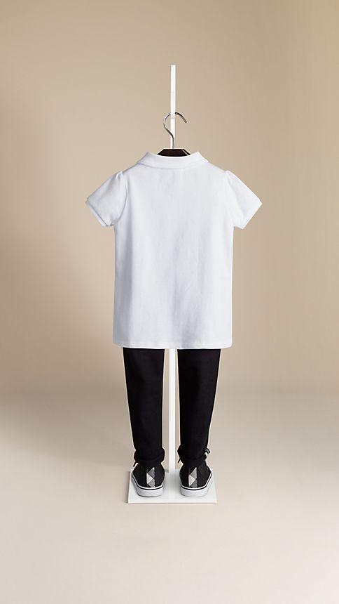 White Check Placket Polo Shirt - Image 2