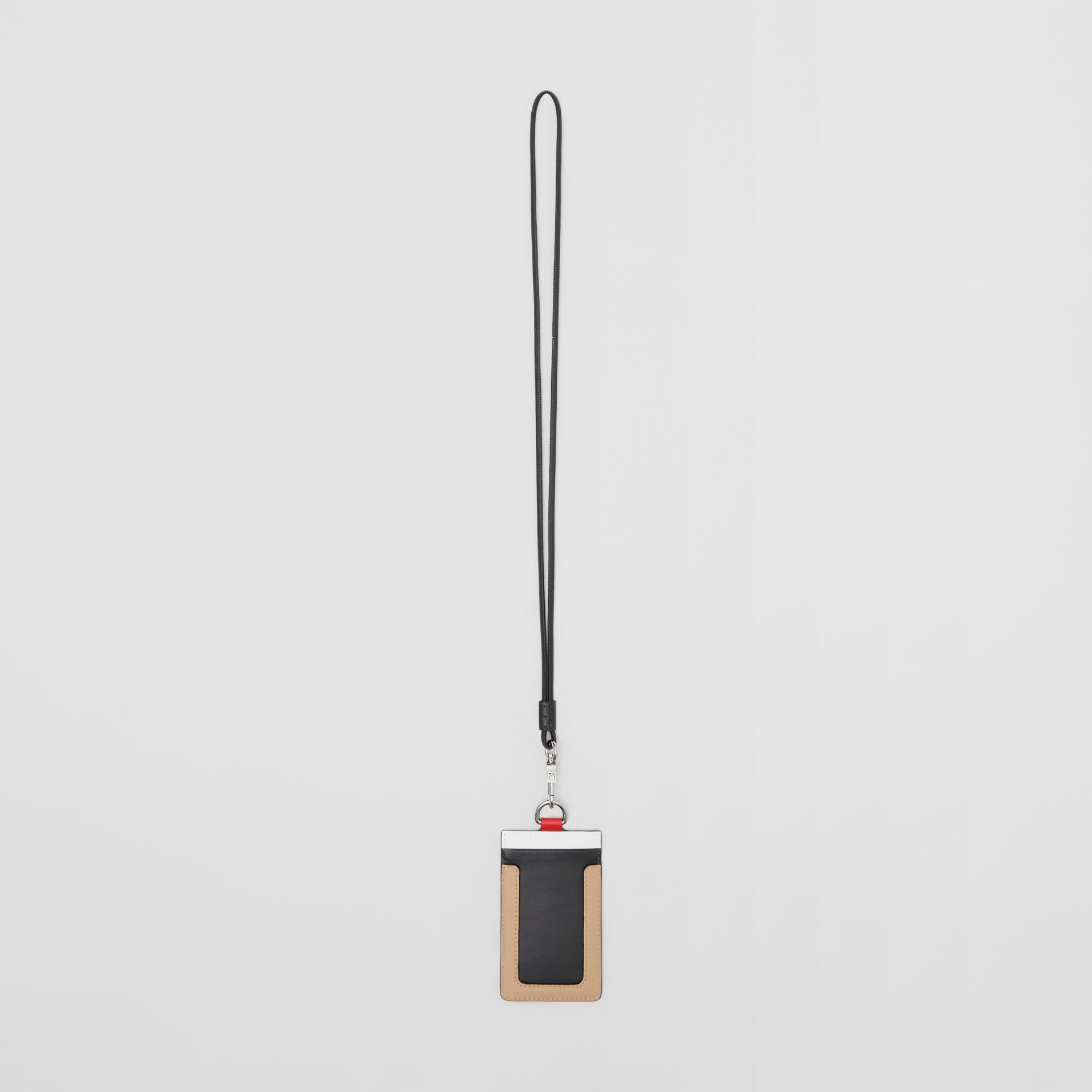 Colour Block Leather Card Case Lanyard in Red/black/beige | Burberry - gallery image 3