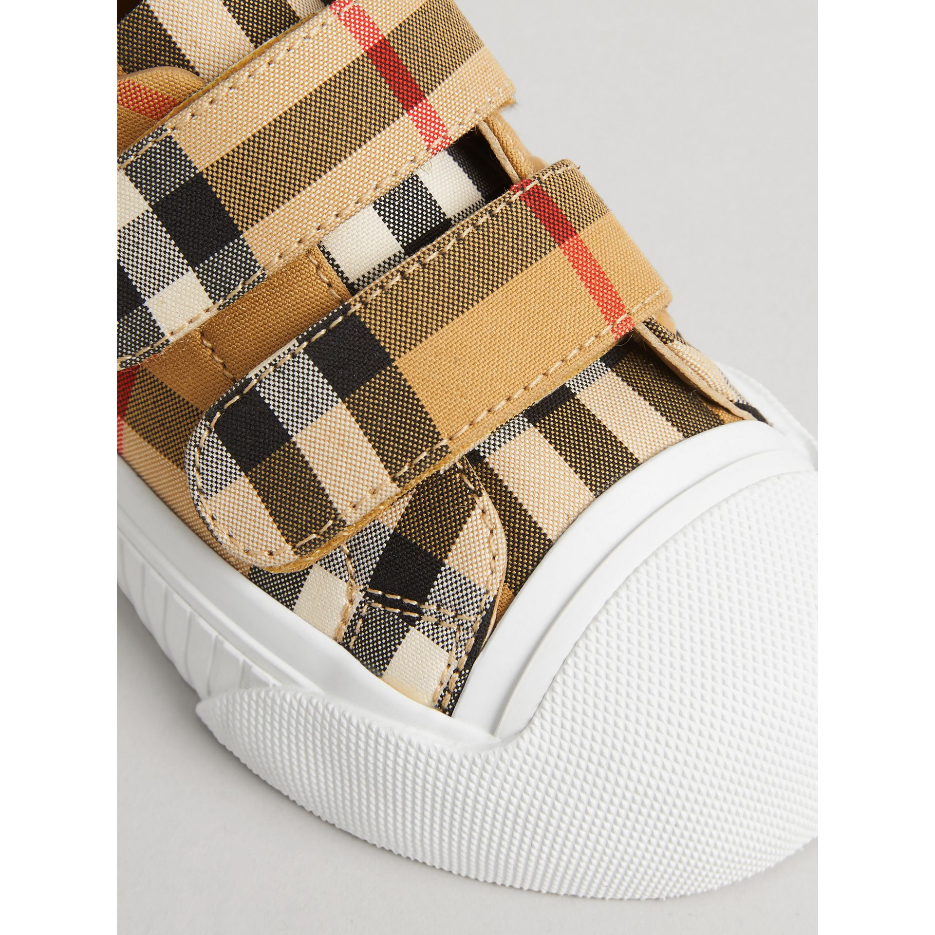 Vintage Check and Leather Sneakers in Optic White/black - Children | Burberry Canada - gallery image 1