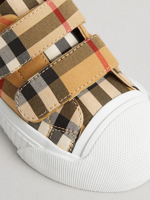 Vintage Check and Leather Sneakers in Optic White/black - Children | Burberry - cell image 1