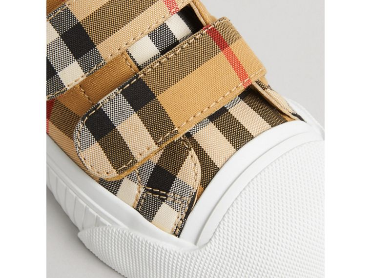 Vintage Check and Leather Sneakers in Optic White/black | Burberry Singapore - cell image 1