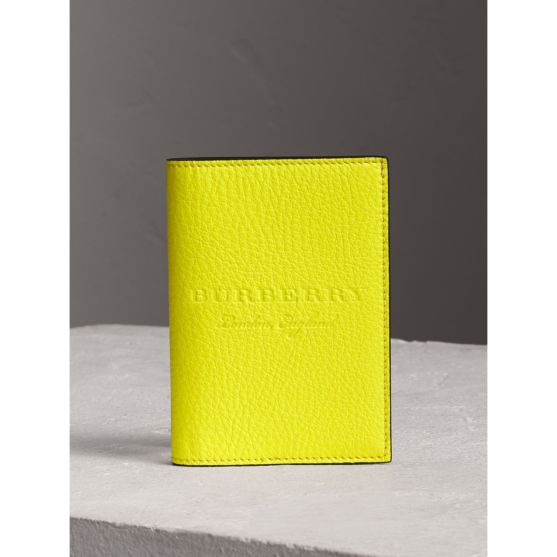 Embossed Leather Passport Holder in Bright Yellow | Burberry Australia - gallery image 0